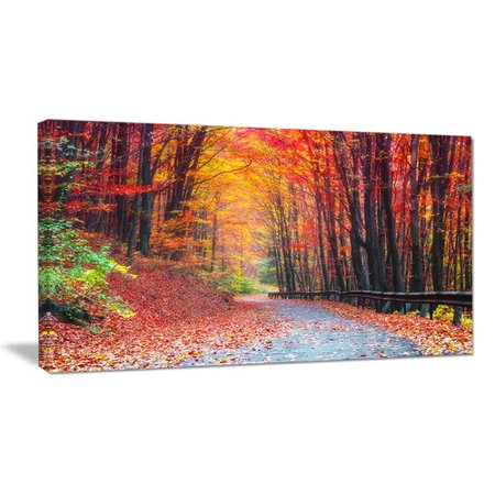Autumn Design - Design Art 'Road in Beautiful Autumn Forest' Photographic Print on Wrapped Canvas