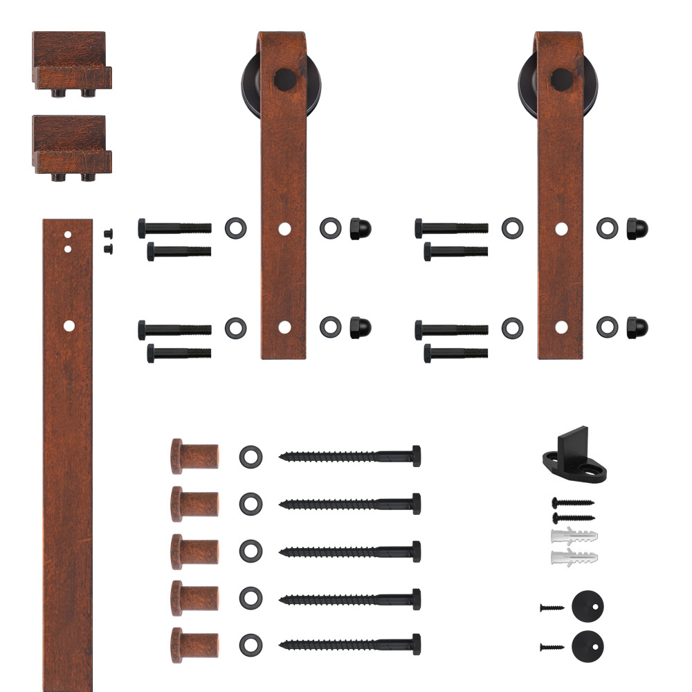 6.6 Ft. Soft Closed Hook Strap Red Patina Rolling Barn Door Hardware Kit with 2-3/4 in. Wheel