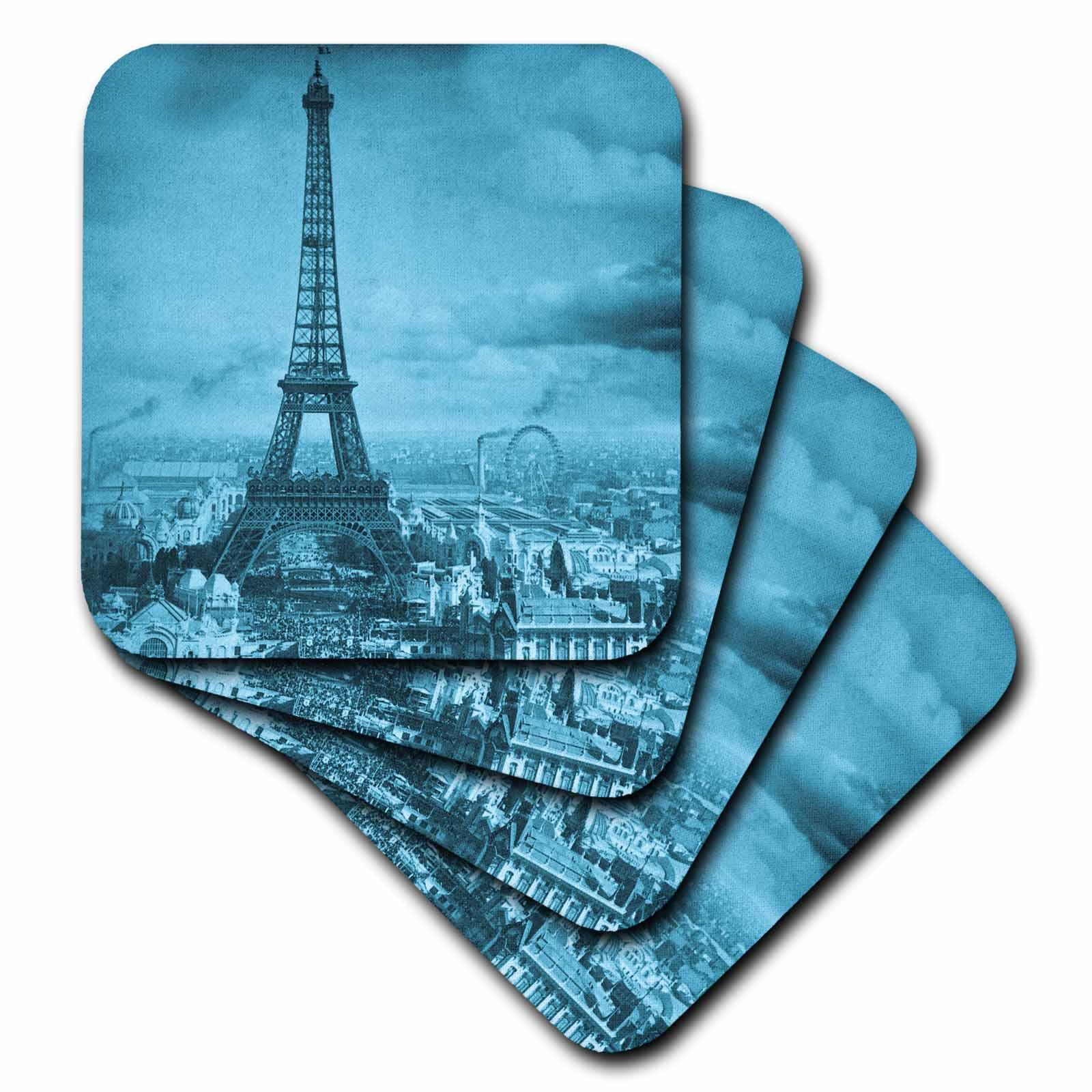 3dRose Eiffel Tower  Paris  France, 1889 Cyan, Ceramic Tile Coasters, set of 4