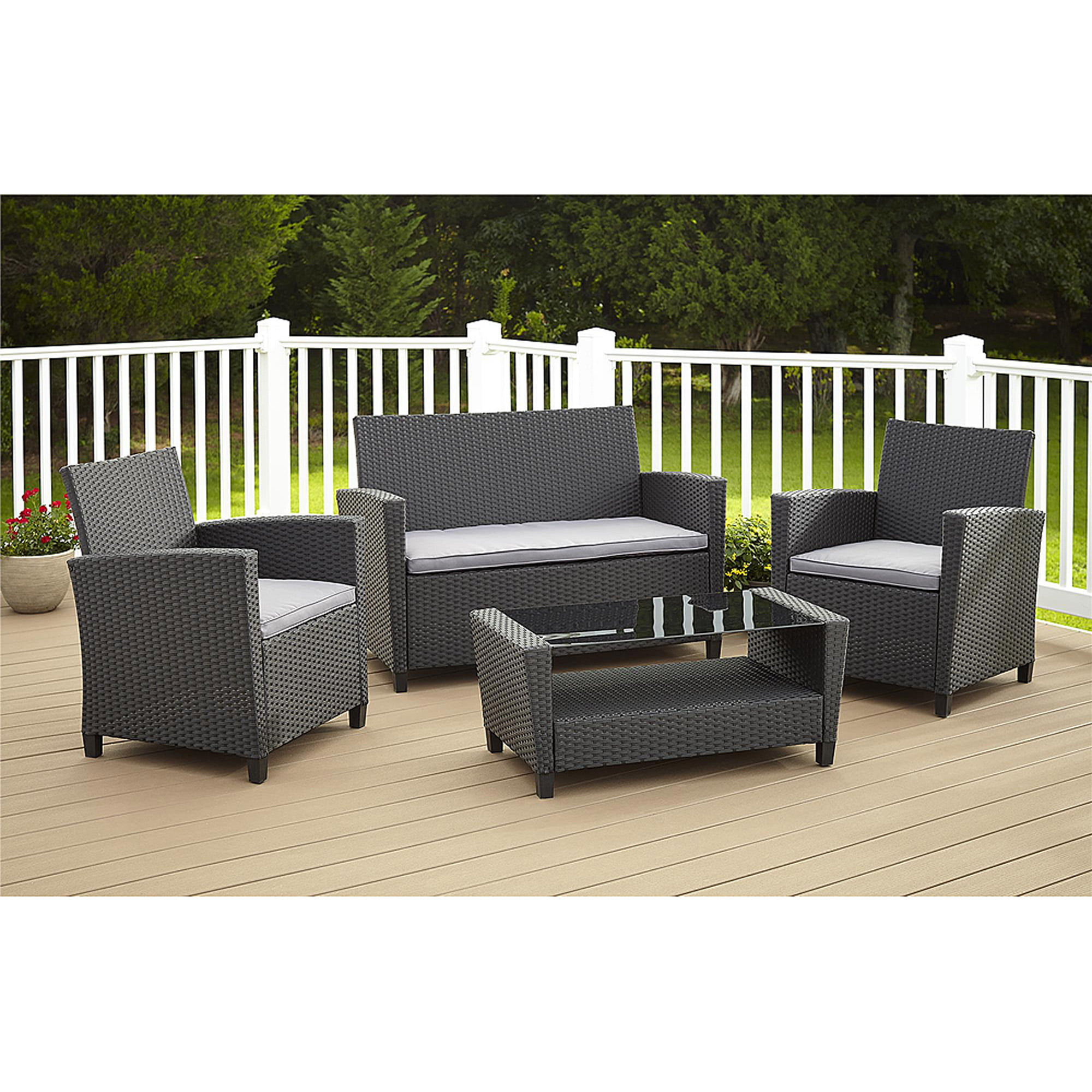 Cosco Outdoor Malmo 4 Piece Resin Wicker Patio Conversation Set Com