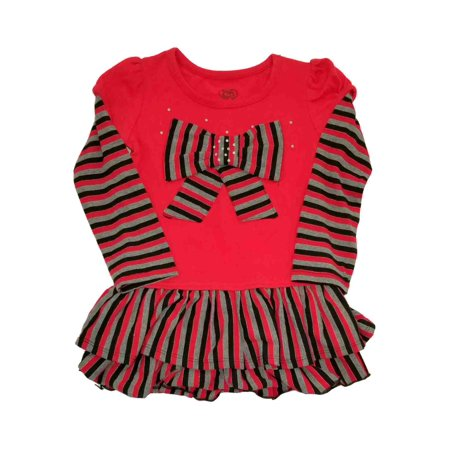 Young Girls Dress (Infant Toddler Girls Red Stripe Bow Christmas Holiday Party Dress Black Grey)