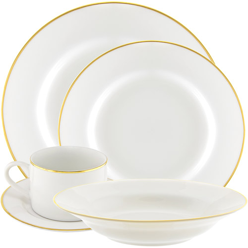 10 Strawberry Street Gold Line 20-Piece Dinnerware Set with Cup and Saucer, White with Gold Border
