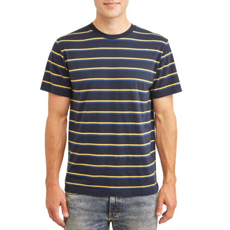 No Boundaries Men's Short Sleeve Stripe Tee, up to size 3xl