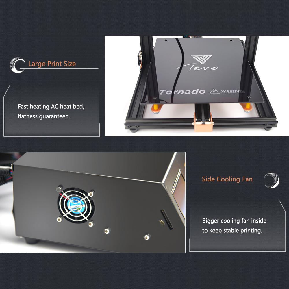 TEVO Tornado Printer 3D Printing Most Assembled Full Aluminum Frame 3D Printer Larger Printing Area TEVO Tornado 3D Printer 300 x 300 x 400mm Gold and Black