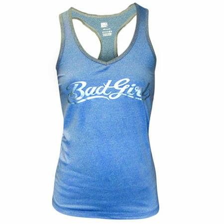 Bad Girl Logo Racerback Fitness Tank Top - XS - Blue Marl/Charcoal Marl Girl Logo Tank