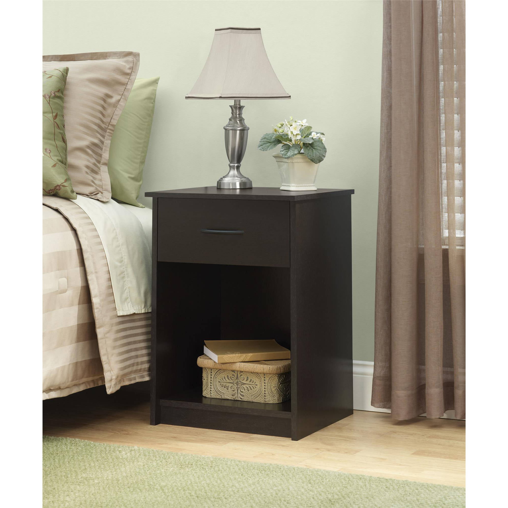 Attirant Mainstays 1 Drawer Nightstand / End Table, Black Ebony Ash   Walmart.com