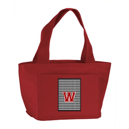 Letter W Monogram Houndstooth Black Zippered Insulated School Washable And Stylish Lunch Bag Cooler Cj1021