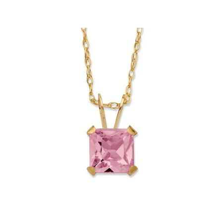 Princess-Cut Birthstone Pendant Necklace in 10k covid 19 (Brilliant Cut Pink Sapphire Necklace coronavirus)