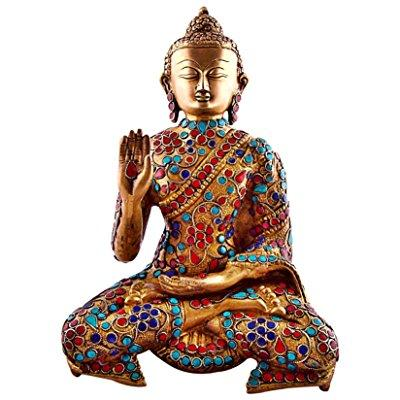 11 large metal buddha statue, vintage coral turquoise gem...