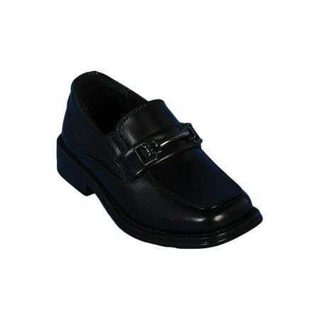 Boy Dress Shoes (Angels Garment Little Boys Black Slip-On Buckle Dress)