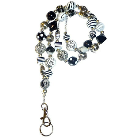 Hidden Hollow Beads Chunky Black & White Women's Beaded Fashion Lanyard Necklace, Jewelry ID Badge and Key Holder, 34 in. (Lanyard Necklace)