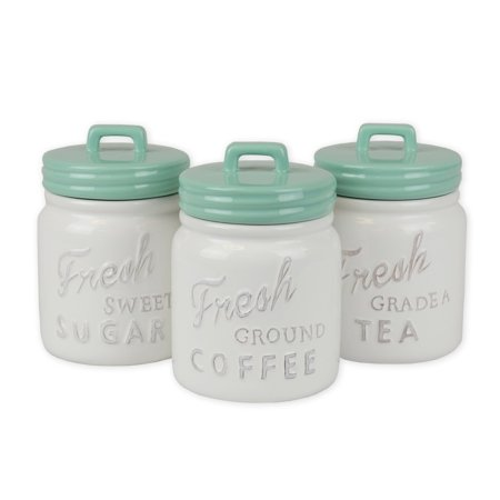 DII 3-Piece Vintage, Retro, Farmhouse Chic, Mason Jar Inspired Ceramic Kitchen Canister with Airtight Lid for Food Storage, Store Coffee, Sugar, Tea, Spices and More - Aqua Jar Canister ()