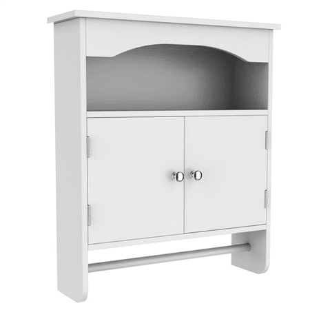 Wall Hung Bathroom Cabinet (Yaheetech Bathroom Wall Cabinet with 2 Shutter Doors, White )