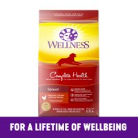 Wellness Complete Health Natural Dry Senior Dog Food, Chicken & Barley, 30-Pound Bag