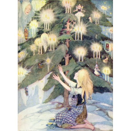 The Little Match Girl illustration from The Golden Wonder Book published 1934  The poor little girl was sitting under the most beautiful Christmas tree she had ever seen Poster Print by Hilary Jane