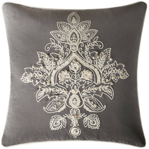 """VCNY Home Katarina Floral Damask Embroidered 18"""" x 18"""" Square Decorative Throw Pillow, 100 Percent Cotton"""