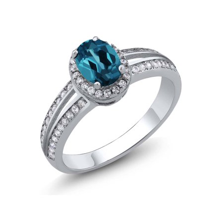1.10 Ct Oval London Blue Topaz Gemstone Birthstone 925 Sterling Silver - Citrine Gemstone Sterling Silver Ring
