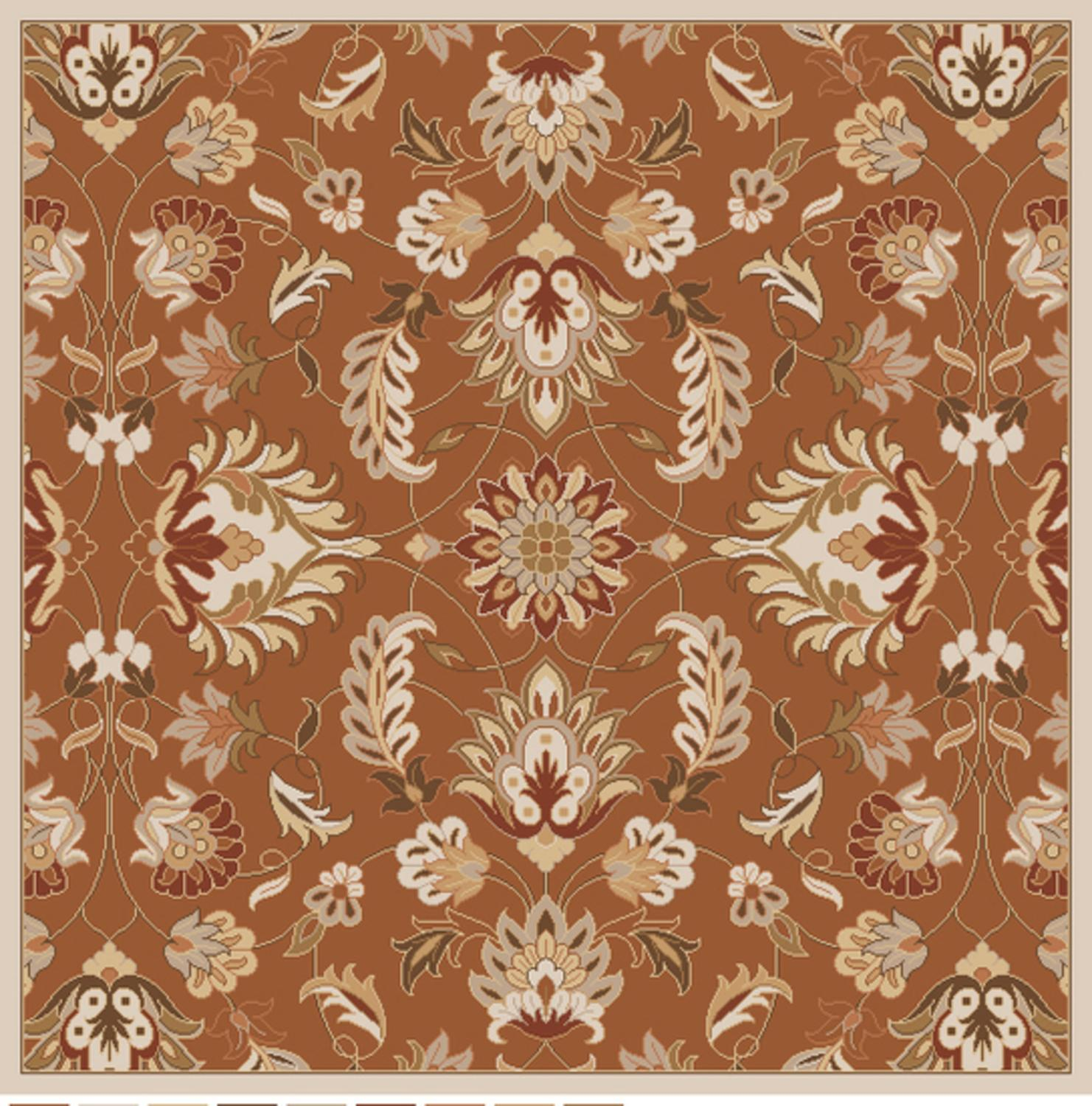 6' x 6' Crassus Brown and Cream Hand Tufted Square Wool Area Throw Rug