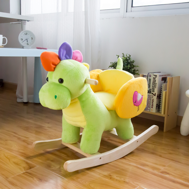 Kinbor Kids Plush Rocking Horse Rocker Horse Toy Child Rocking Horse Dinosaur For Children S Day Birthday Gift W 32 Nursery Rhymes Walmart Com Walmart Com