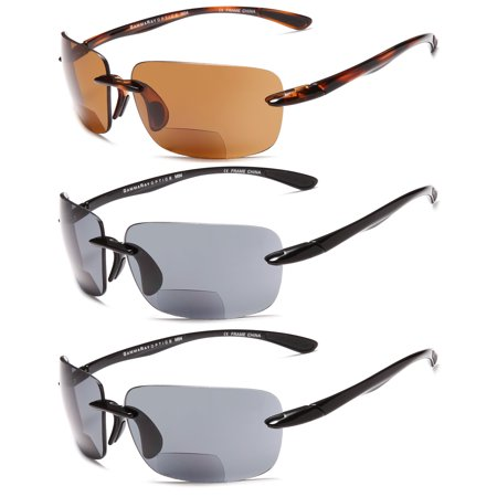 GAMMA RAY 3 Pairs of Sports Bifocal Sunglasses Readers for Biking Golfing Running UV400 Protection Outdoor Reading Glasses for Men and Women Non-Polarized Lenses - (Gamma Ray Optics Sunglasses)