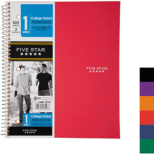 Mead Five Star 1-Subject Notebook, Two Pockets, College Rule, 100 Sheets, Colors May Vary