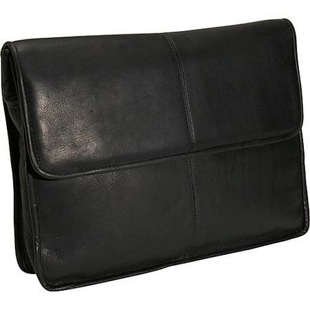 (1/2 Flap Over Leather Envelope Briefcase w Front Pocket (Black))