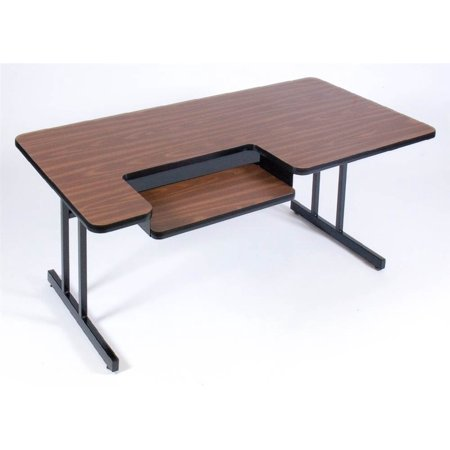 Computer Table in Walnut - Bi Level Work Station (30 in. x 48 in./Black Granite)