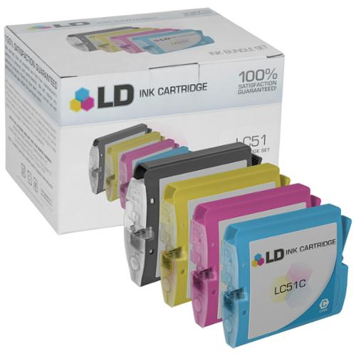 LD Compatible Brother LC51 Bulk Set of 10 Ink Cartridges: 4 Black LC51BK & 2 each of  Cyan LC51C / Magenta LC51M /