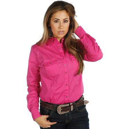 - wrangler apparel womens  pink ultimate riding snap shirt
