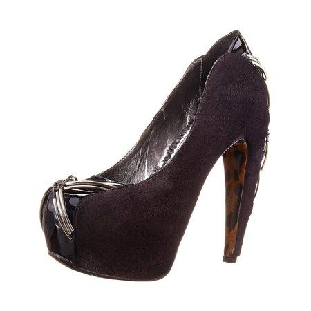 - Womens Velvet Pumps 5 Inch Heels Red Black or Blue Criss Cross Metal Detail