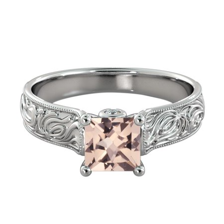 White Gold Diamond Designer Ring (Natural peach/pink 1.06 CT VS Morganite Ring with Diamonds White Gold 14K Vintage Hand Engraved Designer )