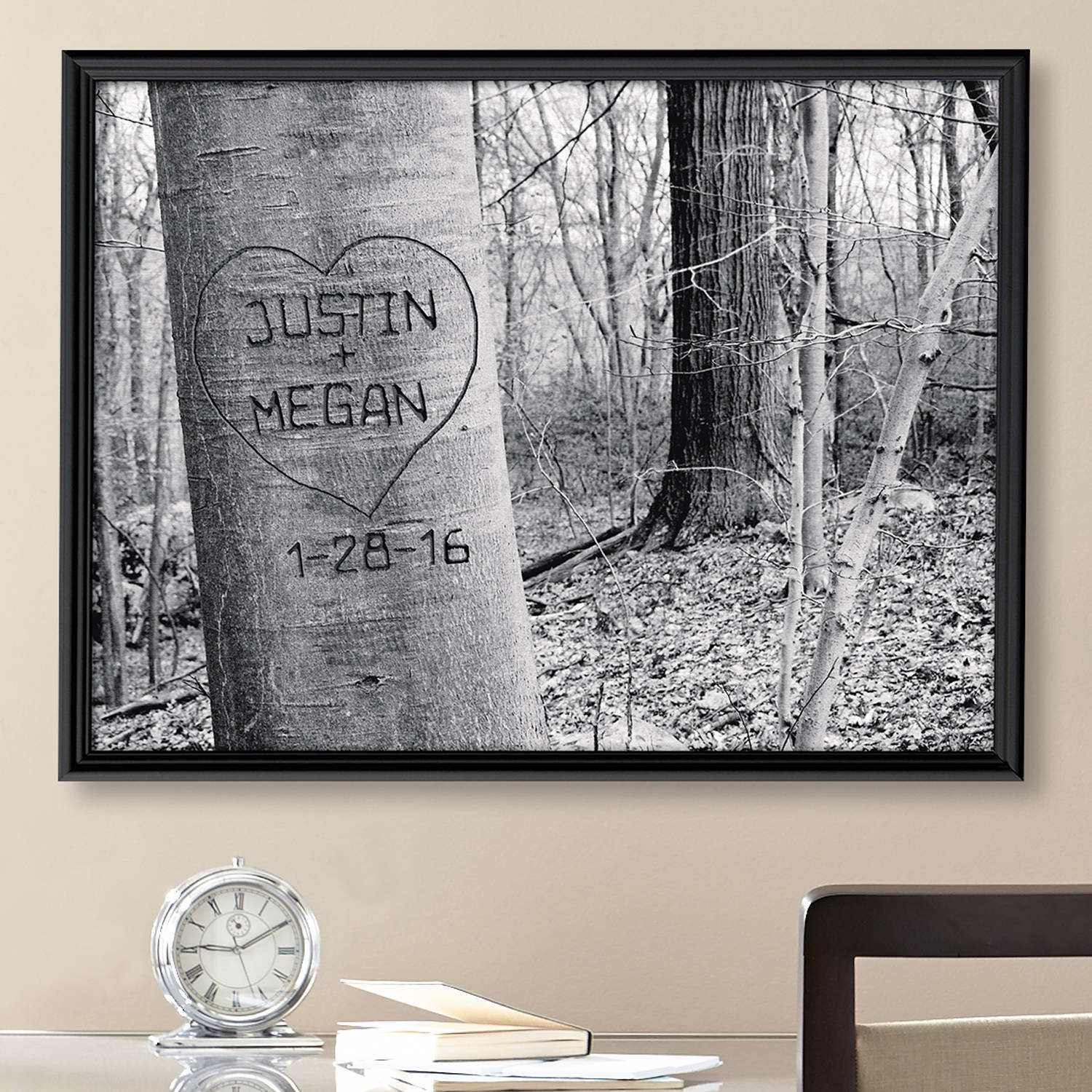 Personalized Carved Heart Art Canvas, Multiple Sizes