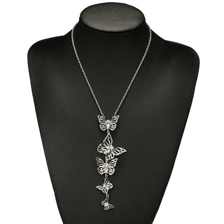 KABOER New Fashion Charm Fine Luxury Butterfly Flower Long Chain Necklace Elegant Personality Women Trendy Sweater Necklace Jewelry Gifts