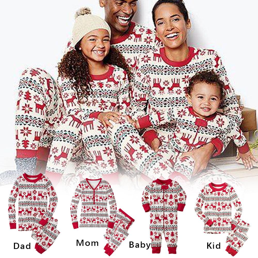 Xmas Family Pajamas Matching Adult Kids Baby Christmas Loungewear Nightwear Sets