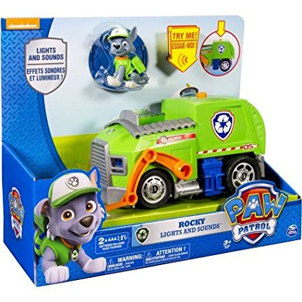 Rocky's Lights and Sounds Recycling Truck, Includes: 1 Paw Patrol Lights and Sounds Vehicle with Rocky Figure... by