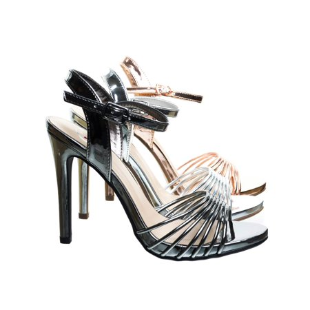 Telling by Delicious, Metallic High Heel Dress Sandal w Cage Strap. Women Evening Party Shoe