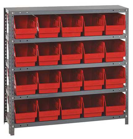 Bin Shelving,Solid,36X12,20 Bins,Red QUANTUM STORAGE SYSTEMS 1239-202RD