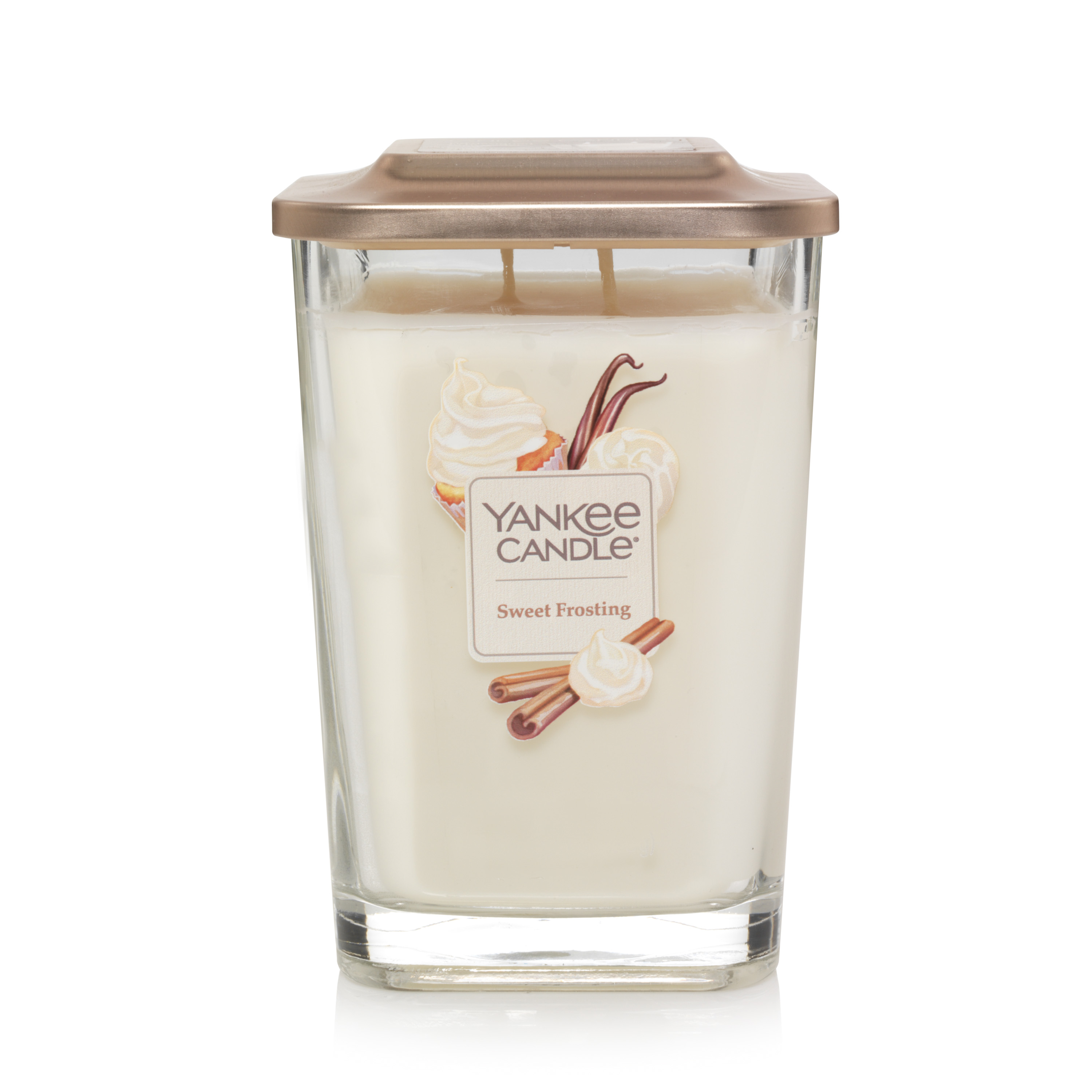 Yankee Candle Elevation Collection with Platform Lid Large 2-Wick Square Candle, Sweet Frosting