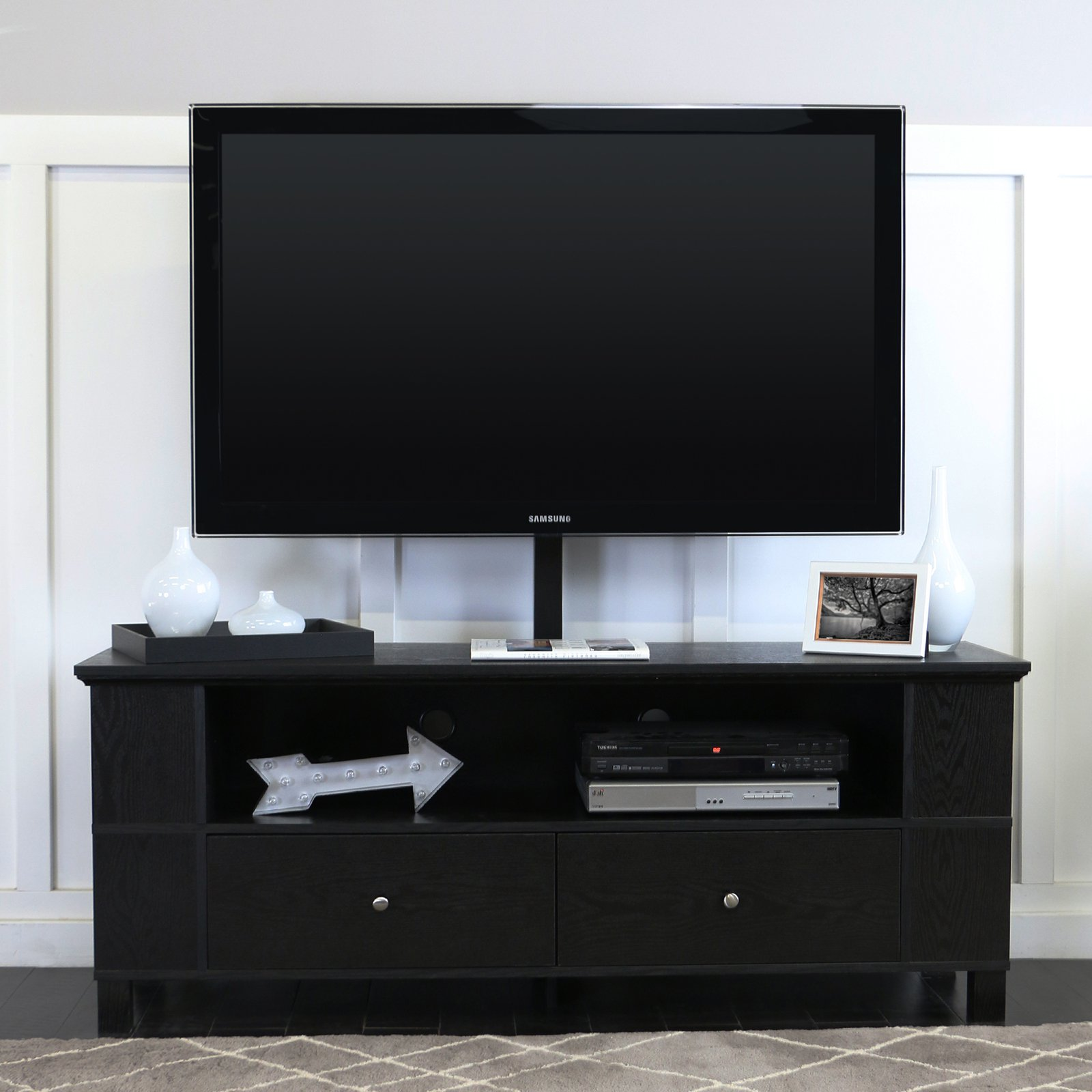 Walker Edison Black Wood TV Console with Mount and Multi-Purpose Storage for TVs up to 60""