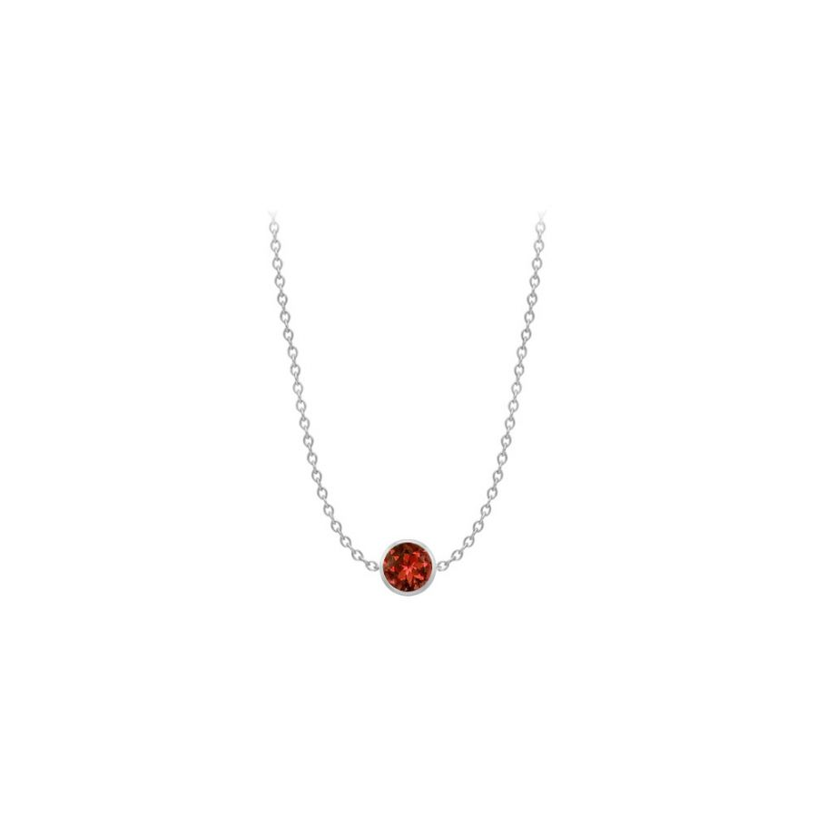 LoveBrightJewelry 1 Carat Garnet By The Yard Necklace in White Gold 14K with 16 Inch Length by Love Bright