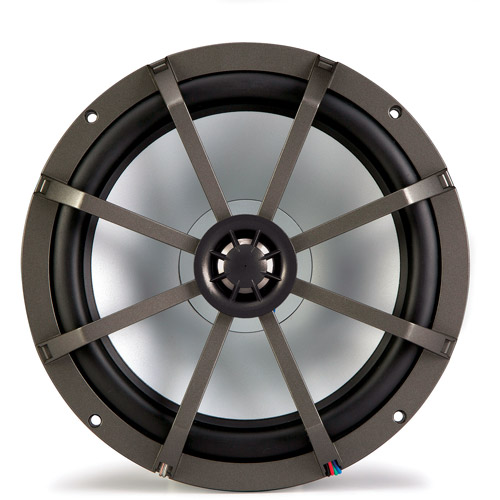 "Kicker KM8 8"" Marine Coaxial Speakers with 1"" Tweeters, LED Grille, Charcoal and White Grilles, 4-Ohm"