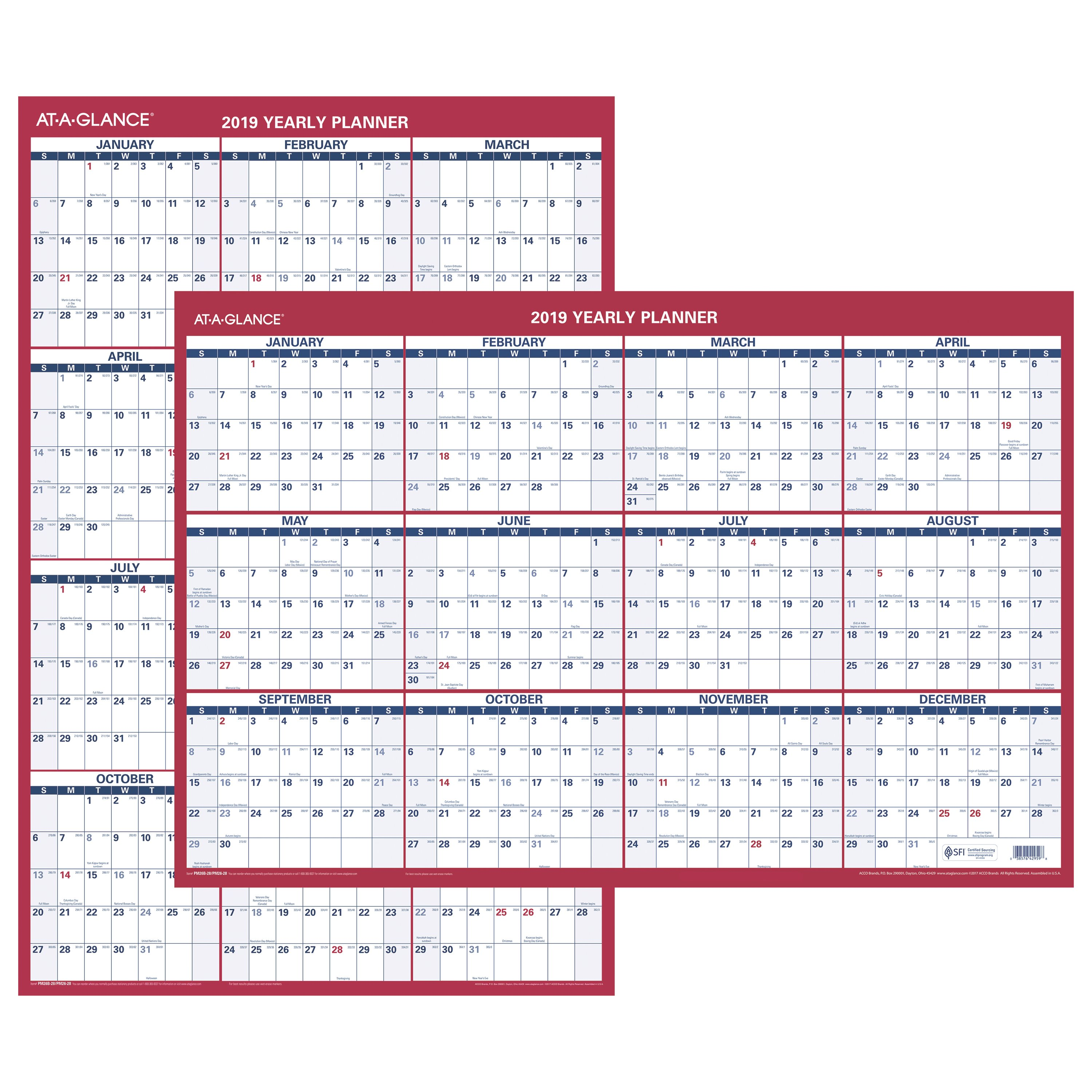"""AT-A-GLANCE 2019 Vertical Horizontal Erasable Wall Calendar, 36"""" x 24"""" (PM262819) by ACCO BRANDS"""