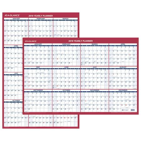 AT-A-GLANCE 2019 Vertical/Horizontal Erasable Wall Calendar, 36
