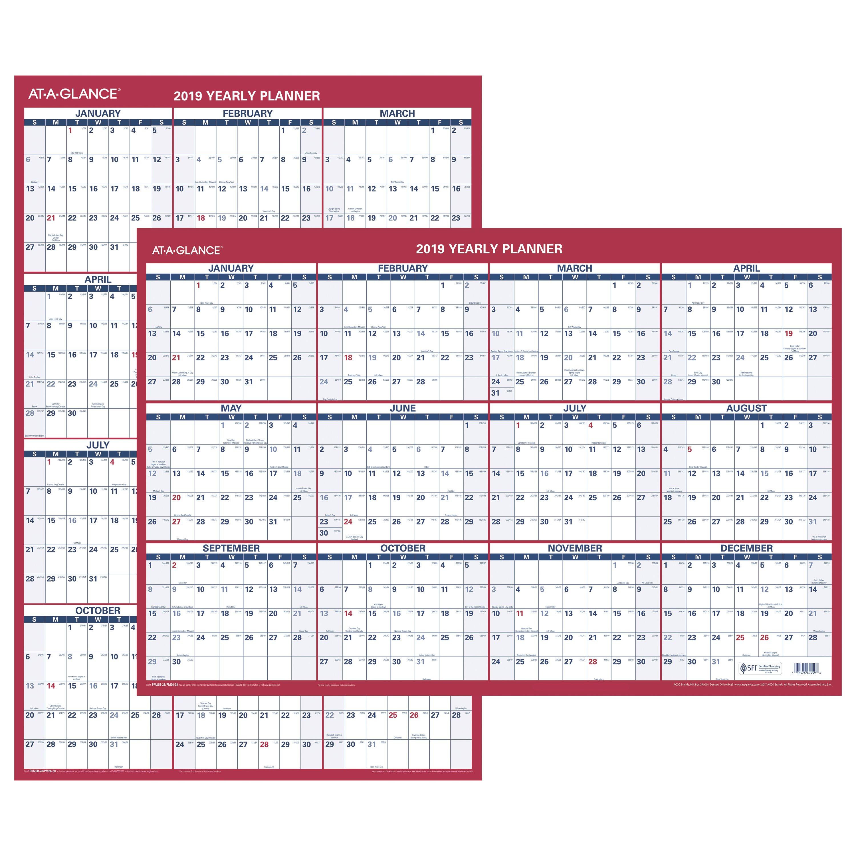 "AT-A-GLANCE 2019 Vertical/Horizontal Erasable Wall Calendar, 36"" x 24"" (PM262819)"