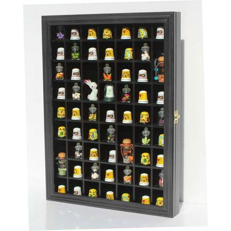 59-Opening Souvenir Thimble Small Miniature Display Case Cabinet Rack Holder, Glass Door, (Black)