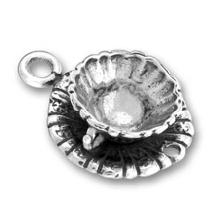 """Sterling Silver 16"""" .8mm 3D Decorative Tea Or Coffee Cup Saucer And Spoon Pendant Necklace"""