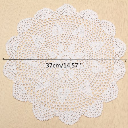 """Meigar 14.5""""  Sunflower Lace Floral Round Cream Hand Crochet Cup Mat Doilies Coasters Wedding Table Fabric Cloth Doily Placemats  - image 1 of 7"""