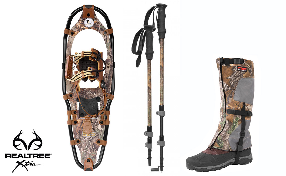 Yukon Charlie's Aluminum Snowshoes(up to 300lbs) Wood Camo w poles& M L gaiters by