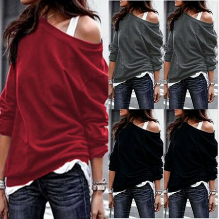 The Noble Collection Womens Winter Autumn Sweatshirt One Shoulder Jumper Sweater Pullover Tops 100% Cotton Pullover Sweater
