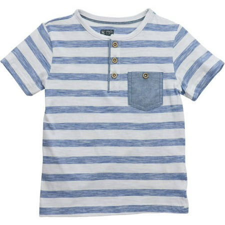 6d24ef743 No Retreat - Toddler Boys' Striped Short Sleeve Henley T-Shirt with ...